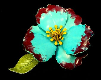 Blue  Flower Pin, Something Blue Brooch, 1960s, Enamel on Metal, Maroon, Turquoise Blue, Marigold Yellow and Lime
