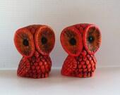 Bright Orange Owl Salt & Pepper Shakers