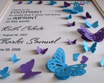 2 NAMES or Twins No Footprint Too Small Personalized 3D Butterfly Memorial Art. Infant Loss, Miscarriage, Stillbirth. 8x10. Made to Order