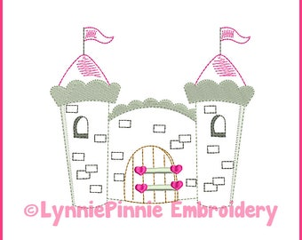Pretty Princess CASTLE Colorwork Sketch Embroidery Design 4x4 5x7 6x10  Machine Embroidery Design