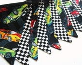 For CAREY - Race Car Birthday Bunting Banner, Racecar Decoration, Racing Checker Track, Fabric Flags -- Black, White, Red, Green, Blue