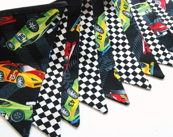 Race Car Birthday Bunting Banner, Racecar Party Decoration, Racing Checker Track -- Fabric, Cloth Flags -- Black, White, Red, Green, Blue