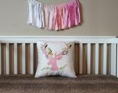 Floral Deer Pillow - Girls Woodland Theme Nursery - Decorative Throw Pillow Cover