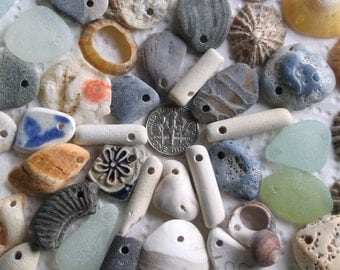 52 Sea Glass Slag Beach Pottery Shells fossils Dangles Top Drilled 2mm Holes Supplies (1933)