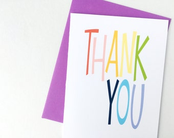 Rainbow Thank You Card, Thank You Note Card, Blank Note Card, Appreciation Card, Greeting Card for Rainbow Party, Rainbow Stationery,