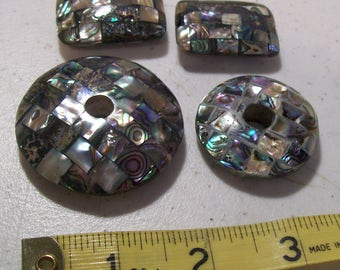 LP17-DPSD-1 - Lot of Four Inlaid Pau Shell Donuts and Beads - Tropical Beads