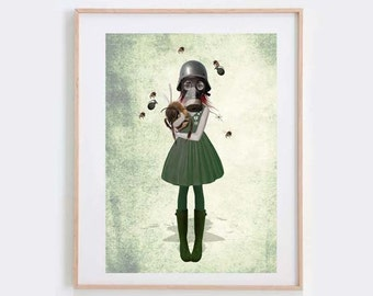 Soldier Girl Art Print - Gas Mask Girl - Swarm Of Bees - Bee Art Print - Glory