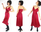 70s maroon disco dress / burgundy / surplice 8 / 10