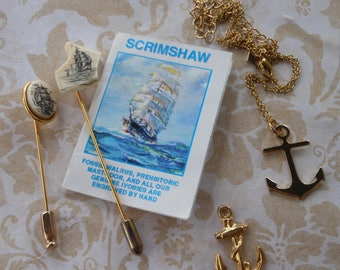 Scrimshaw collection of stick pins hat pins ship carvings anchor necklace gold anchor charm vintage jewelry