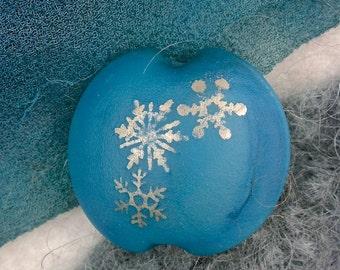"""Lampwork Beads SRA """"Steel Snowflake Lentil"""" Handmade Sandblasted Glass and Metallic Lustre on Blue"""