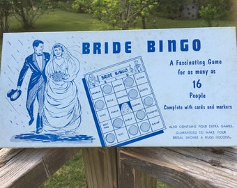 Vintage Bride Bingo--Mid Century Bridal Shower Game--Scrapbooking Mixed Media Art--Paper Ephemera--Collage--Hostess Paty Gift