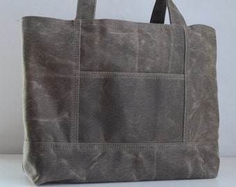 Brown Waxed Canvas Market Tote Bag  - Ready to Ship
