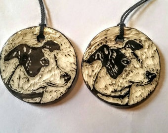 Custom order for Nora - Greyhound Dog Ornaments - sgraffito pottery - set of two