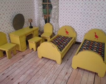 Strombecker Dollhouse Furniture - Yellow Bedroom with Red Goose - 3/4 Scale - 1930s