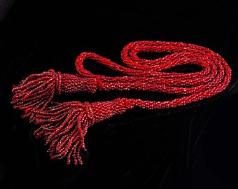 "44"" Antique necklace / Garnet Red Flapper Necklace / beaded tassel necklace / 1920s Art deco jewelry / 1000's of  glass  beads"