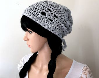 All-Season Slouchy Beanie  - Crocheted in 100 Percent Eco Friendly Cotton Yarn in Light Gray - Women Girl Teen - Beach Collection