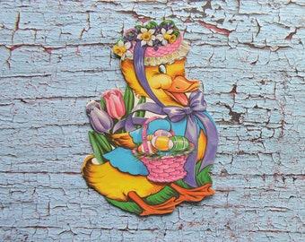 """Mini Vintage Eureka Easter Duck Cardboard Die Cut Decoration 4"""""""