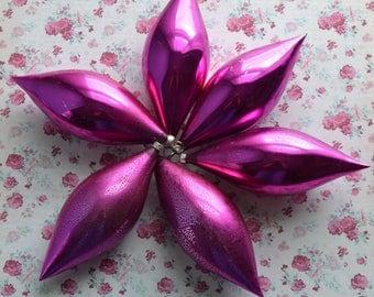 "6 Vintage Magenta Pink Teardrop Glass Christmas Ornaments 5"""