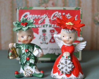 Vintage Merry Christmas Sweethearts Salt and Pepper Shakers Napco in Original Box