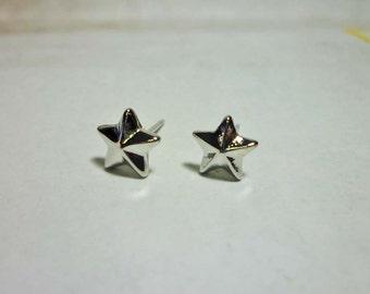 Cute Silver Star Stud Earrings, Star Earrings