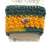 Ready To Ship - Crocheted Green and Gold Coffee Cup Cozy - Football Cup Sleeve - Crocheted Cup Warmer With Football Button