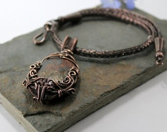 Joro's Bounty - Copper Viking knit necklace with Bronzite wire wrapped pendant
