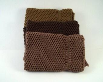 Dishcloths Knit in Cotton in Mission Oak, Acorn and Brown, Knit Wash Cloths, Cotton Washcloth, Cotton Dishcloth