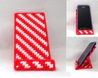 Cell Phone Stand - Red and White Stripe, Cell Phone Holder, Cell Phone Display