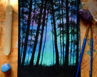 "Cosmic forest, magical silhouette, 10 x 7"" original watercolour"
