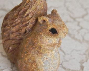 teeny adorable stoneware woodland squirrel miniature terrarium figurine