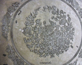 Vintage Metal Printing Plate Floral Design for printing on a plate repurpose as leather stamp letterpress or what you can think of