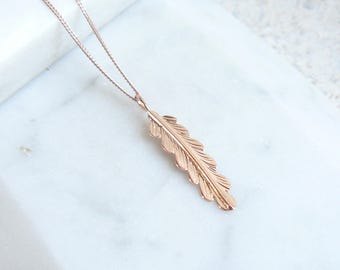 Rose gold necklace, feather pendant necklace, simple necklace, gold charms, FREE UK SHIPPING