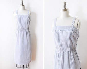 vintage seersucker dress, vintage blue and white striped dress, 1970s nautical dress, extra small xs