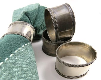 4 Oval Napkin Rings, Beaded Band Vintage Silver Plate