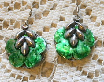 Hand Painted Vintage Mother of Pearl Flower Earrings - Leaf Green and Silver Sterling Ear Wires