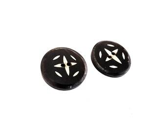 2 Black Round Bone Button Tribal Star 24mm