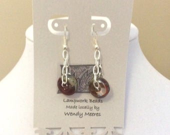 Lampwork clear, silver and red earrings