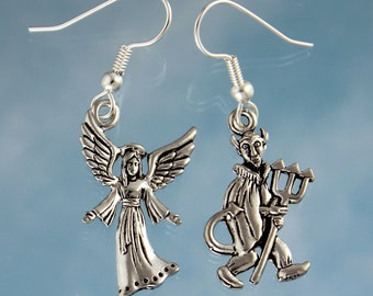 Angel Vs. Devil Earrings - Good vs. Evil, antiqued silver pewter charms, silver plated steel hypoallergenic earwires -Free Shipping USA