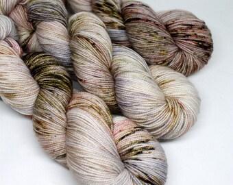 Hand Dyed  Speckled Sock Yarn - SW Sock 80/20 - Superwash Merino Nylon - 400 yards  - Smoke & Lightning