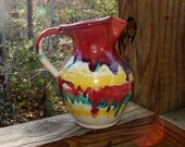 RESERVED Large COLE POTTERY Unsigned Pitcher Southern North Carolina Pottery Pitcher_ Turquoise_Burgundy_Yellow  1064