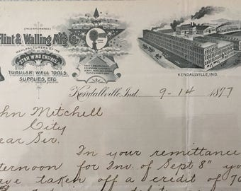 Antique Agriculture Letterhead for WINDMILLS, Kendallville, IN   -- Free Shipping