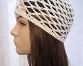 CUSTOM Order for Anna Do not Buy Cream mesh crochet cap Abba style with pearl bead DO not Buy