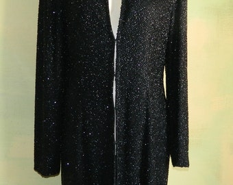 M L 80s Jet Black Glass Beads Evening Jacket Deep Plunge Neckline Heavily Beaded Weighs 3-1/4 Pounds Glamorous Formal Jacket Midnight Star