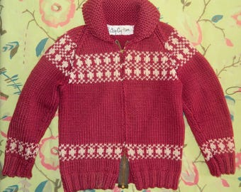 Size 5 / 6 Child's Hand-knit Cowichan Sweater Maroon Burgundy Wool Cardigan Sweater TLC As Is