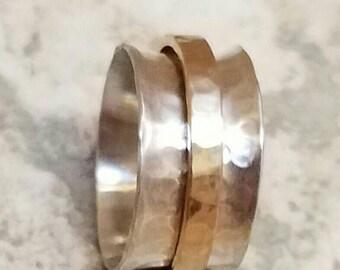 Sterling Silver Spinner Ring Fidget Ring Wide Band Spinner Ring with Gold Band Spinner Yellow Gold or Rose Gold Offered Wedding Band Spinner