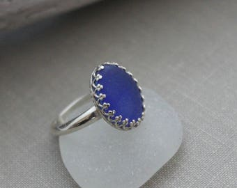Cobalt Blue genuine Sea Glass Sterling Silver Ring - Oval crown setting - Eco Friendly Fashion -Size 7 US - Sea Stone Ring -Beach Jewelry