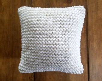 clearance - sale - white knit pillow - size 12x12 - sweater pillow