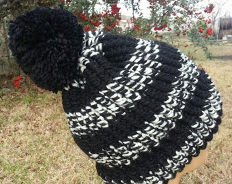 Black and White Striped with Pom-Pom Ski Toboggan - OOAK MWL by an EtsyMom