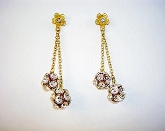 Gold tone Clear Rhinestone Post Dangle Drop Earrings