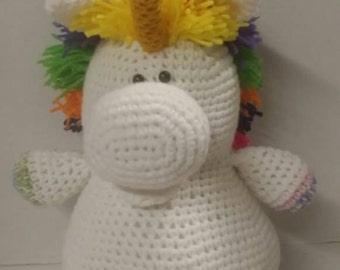 Unicorn, crocheted plushie, stuffed animal, stuffed toy, mystical animal,